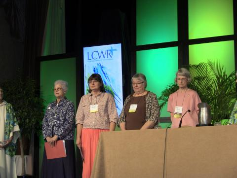 The candidates for LCWR secretary and president-elect address the assembly