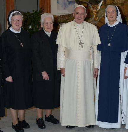 Mother M. Clare Millea, ASCJ; Sister Sharon Holland, IHM; Pope Francis; Mother Agnes Mary Donovan, SV prior to press conference