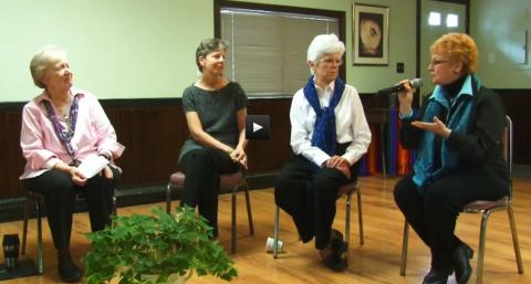 """Scenes from the video """"Contemplative Dialogue: Unleashing the Transformative Power of Communal Wisdom,"""" which shows an actual contemplative dialogue session"""