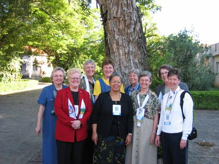 The LCWR delegation members were: (left to right) Christine Vladimiroff, OSB; Jeanne Bessette, OSF; Dorothy Jean Beyer, OSB; Beatrice Eichten, OSF; Constance Phelps, SCL; Carole Shinnick, SSND; Marie Lucey, OSF; Mary Catherine Rabbitt, SL; and Annmarie Sanders, IHM.