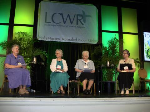 Carol Zinn, SSJ; Florence Deacon, OSF; Sharon Holland, IHM; and Janet Mock, CSJ discuss the doctrinal assessment of LCWR