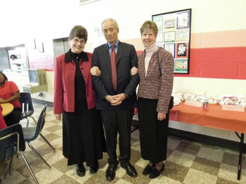 Pat Farrell, OSF, Bob Simon and LCWR director of communications Annmarie Sanders, IHM tour Sisters Academy in Baltimore