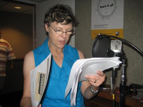 Cokie tapes the narration for the Women & Spirit documentary at the ABC studios in Washington, DC
