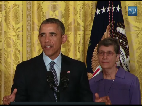 President Obama and Sister Joan Marie Steadman, CSC at White House Briefing