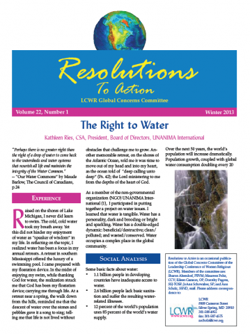 LCWR Resolutions to Action - Winter 2013