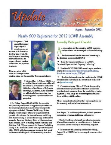LCWR August-September 2012 Newsletter