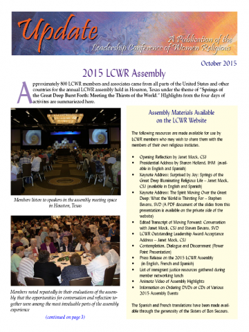 LCWR Newsletter -- October 2015