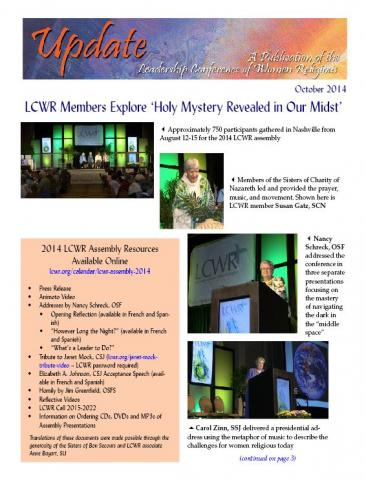 LCWR Newsletter - October 2014