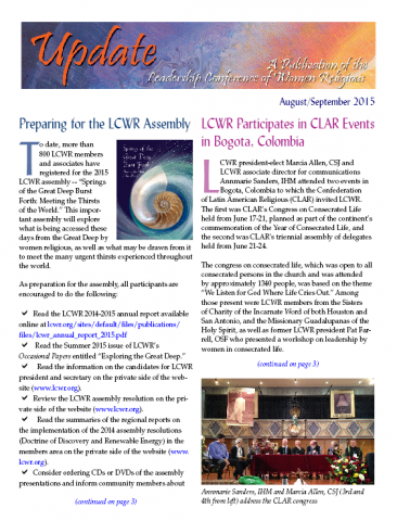 LCWR Newsletter -- August/September 2015