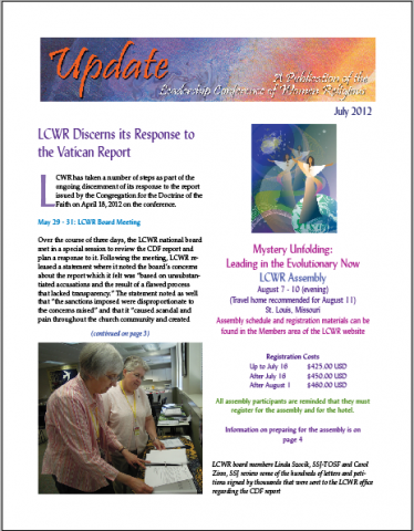 July 2012 LCWR Newsletter