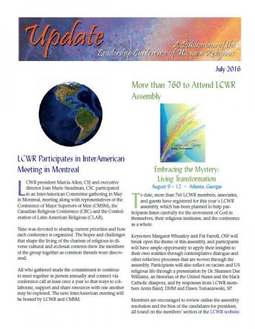 LCWR Newsletter -- July 2016